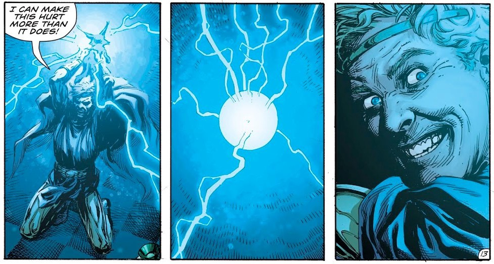 Ozymandias summons Doctor Manhattan. Instantly shows creepy Gary Frank drawn face.