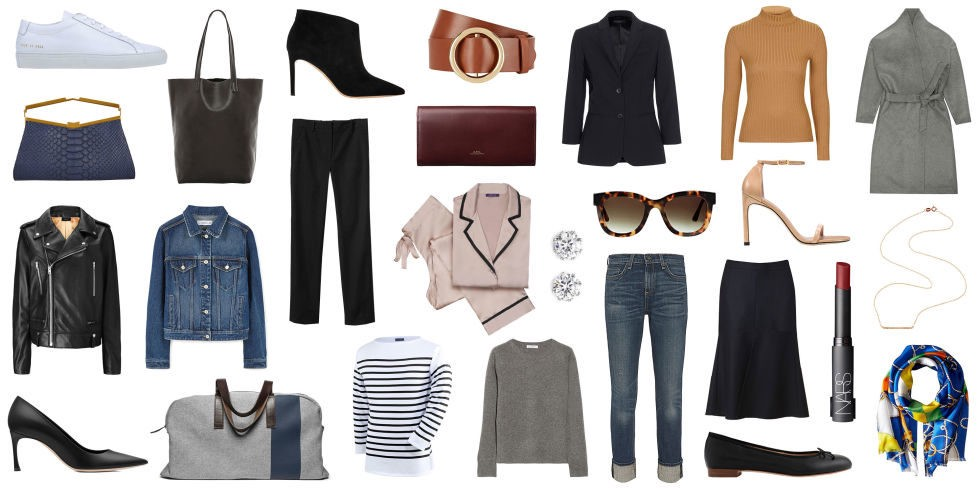 A series of basic clothes and accessories on a white background.