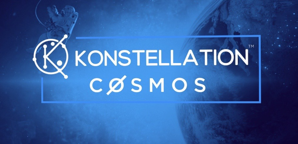 Konstellation logo with the Cosmos Network logo… in outer space.