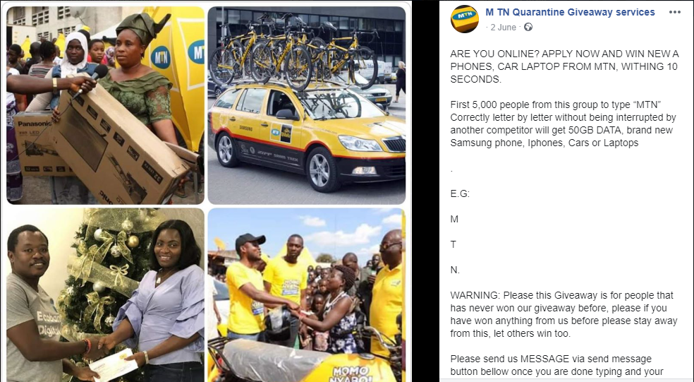 Hoax This Page Running An Mtn Instant Giveaway Promotion Is Fake By Pesacheck Pesacheck
