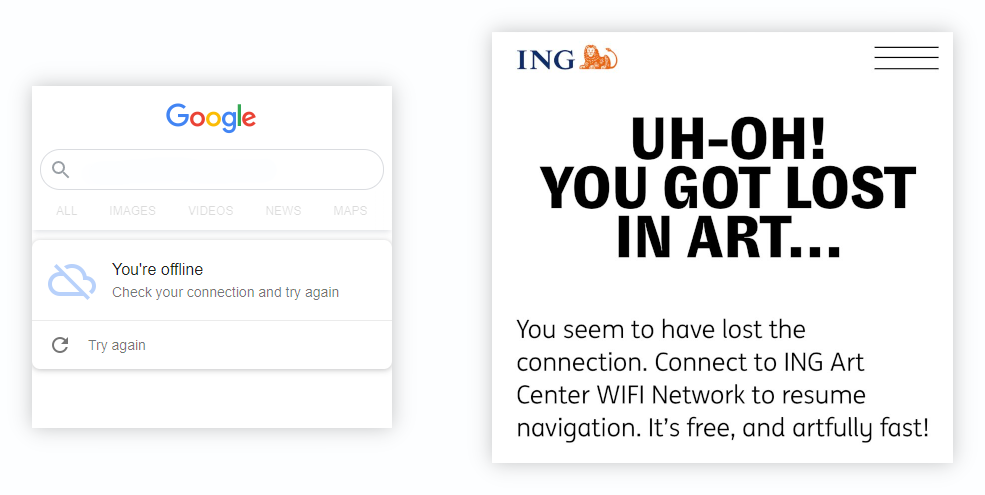 A Google offline page and an offline page from the ING