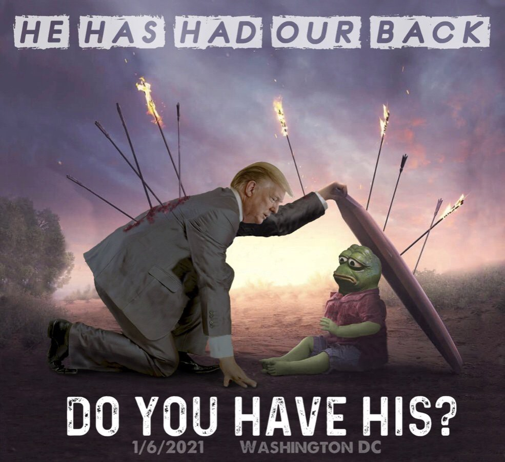 An image of Donald Trump protecting a smaller Pepe the Frog from flaming arrows. The image calls follower to DC on January 6