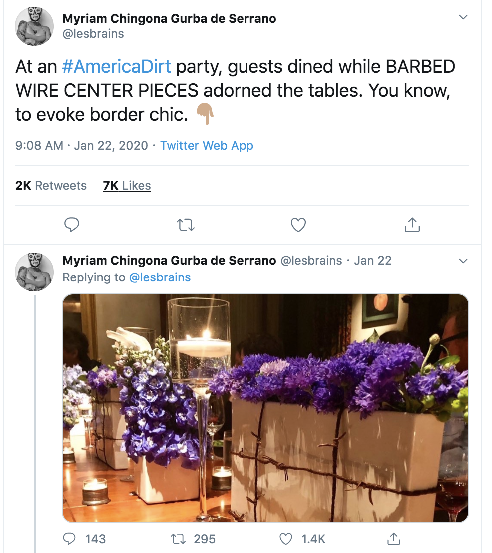 "@lesbrains, author of ""Mean"", critiques the use of barbed wire table center pieces as ""border chic."" https://coffeehousepress"