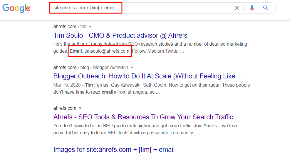 Find Email Address Using Google Search Operators