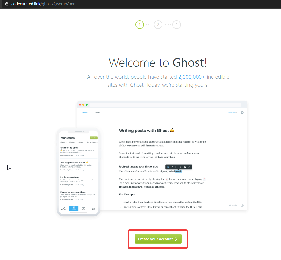 Setting up self-hosted Ghost