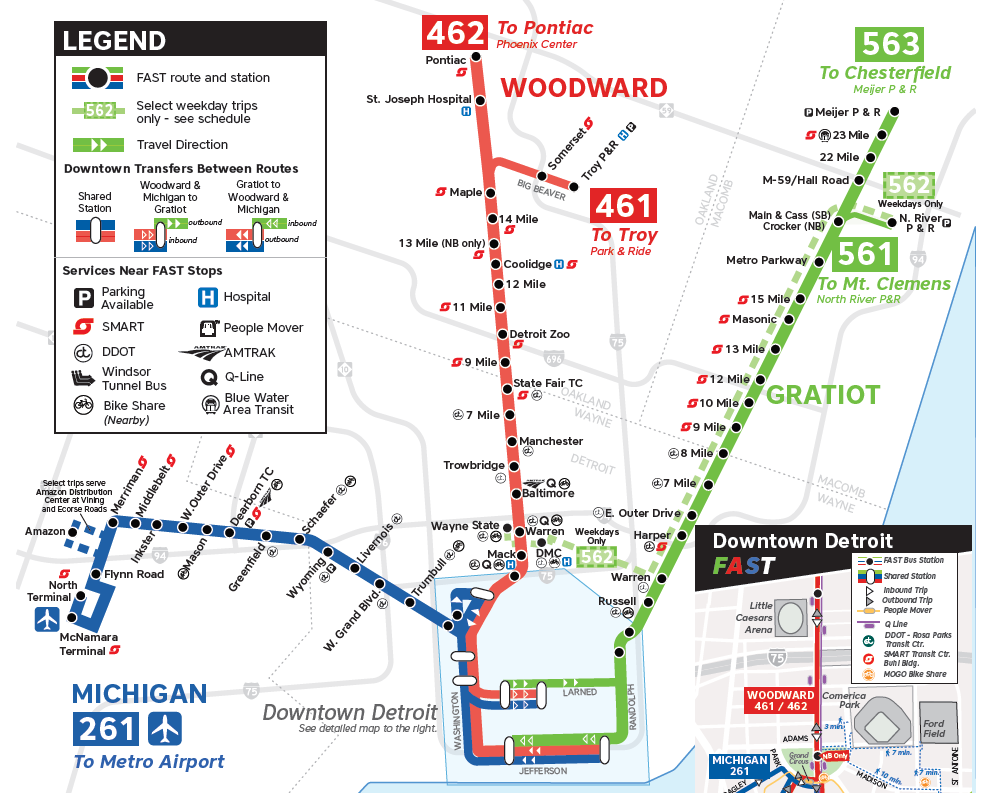 Transit Guide: Opening Day in the D - David Gifford - Medium on detroit on usa map, downtown detroit people mover map, venice people-mover map, scarborough rt, detroit bus route map, indian village, detroit airport route map, detroit bus schedule routes, packard plant detroit map, airtrain jfk, fisher building, grand circus park, detroit thanksgiving day parade 2013, detroit railroad map, detroit rail system, downtown detroit, anchorage people mover route map, belle isle, cultural center historic district, michigan avenue, henry livingston map, orchestra hall, detroit, henry woodward colonist exploration map, detroit people mover route in, detroit thanksgiving parade map, detroit vacant land map, miami-dade metromover, detroit light rail map, cobo center, metromover miami map, jacksonville skyway map, bombardier advanced rapid transit, new center, miami people-mover map,