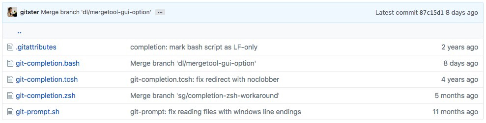 Git's shell completion scripts on GitHub