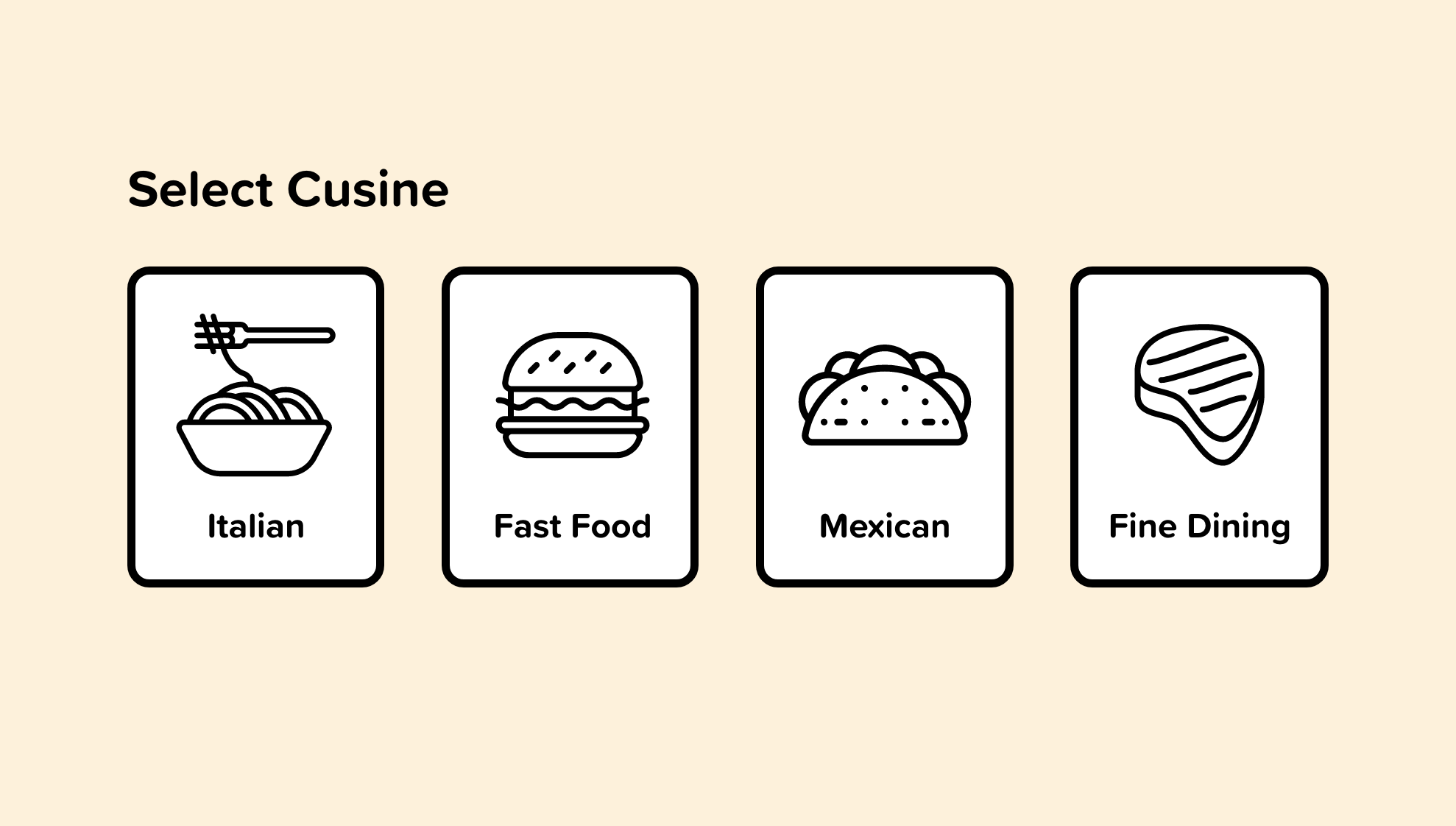 Visual icons displaying types of cuisine available