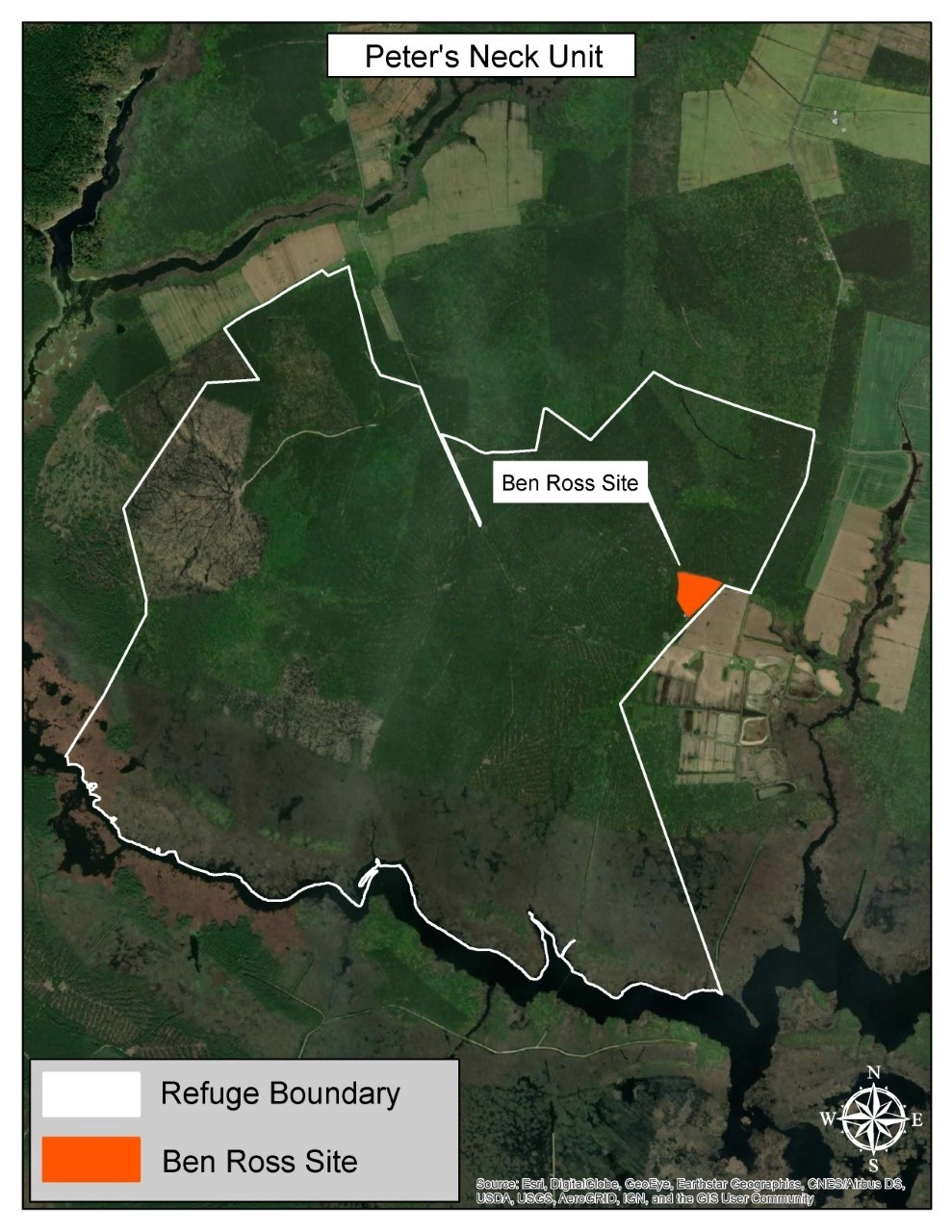 aerial map with white outline of refuge  land and orange rectangle with white tag saying Benn Ross Site
