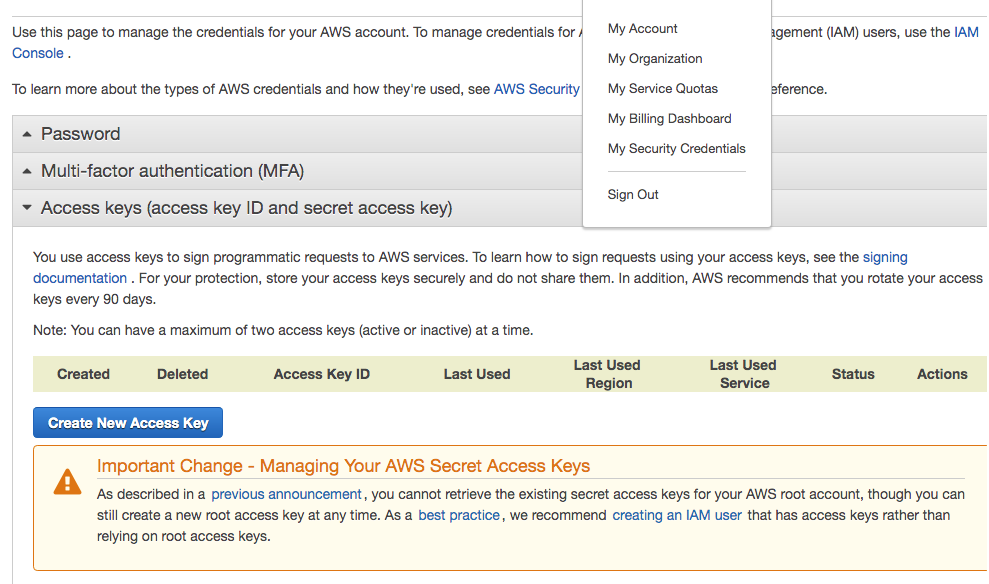 "AWS Console showing the Security Credentials view with location of ""Create New Access Key"" button"