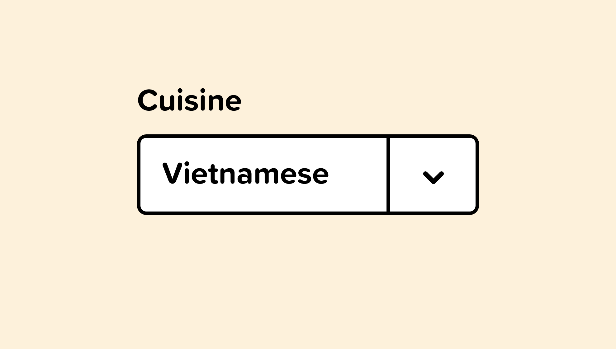 Pre-selected option for vietnamese food