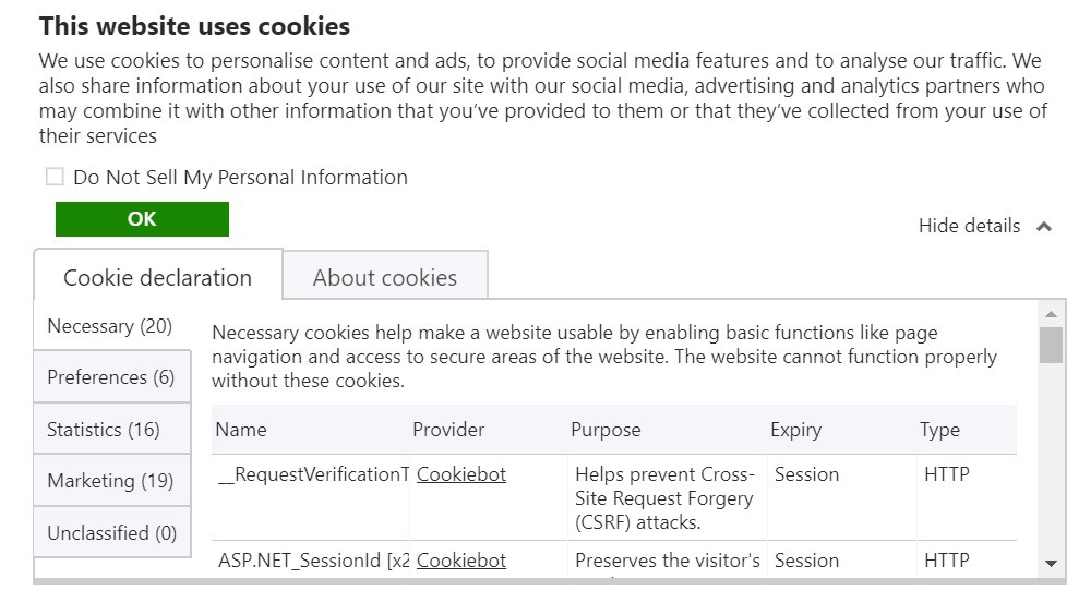 Really complex cookie banner with tabs, checkboxes, accordion and buttons