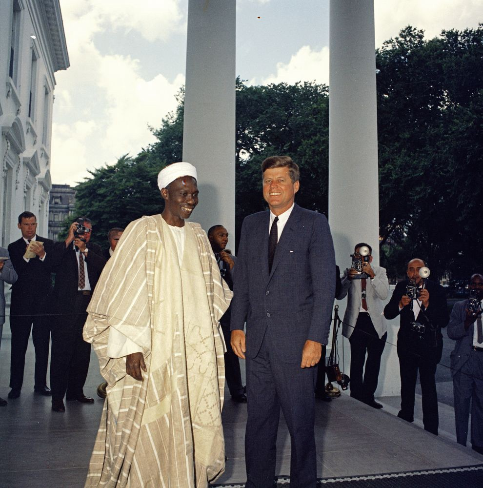 President Kennedy with Nigeria's first and only Prime Minister, Sir Abubakar Tafawa Balewa at the White House in 1961