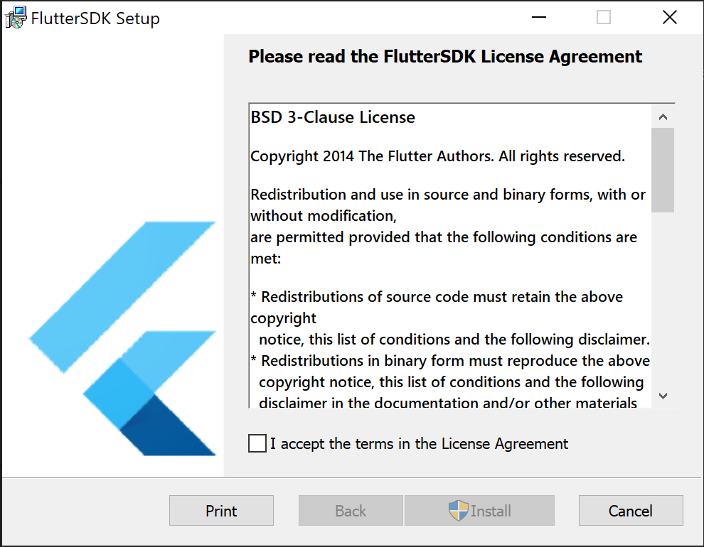 The installation window of Flutter Installer with a License Agreement prompt being displayed.