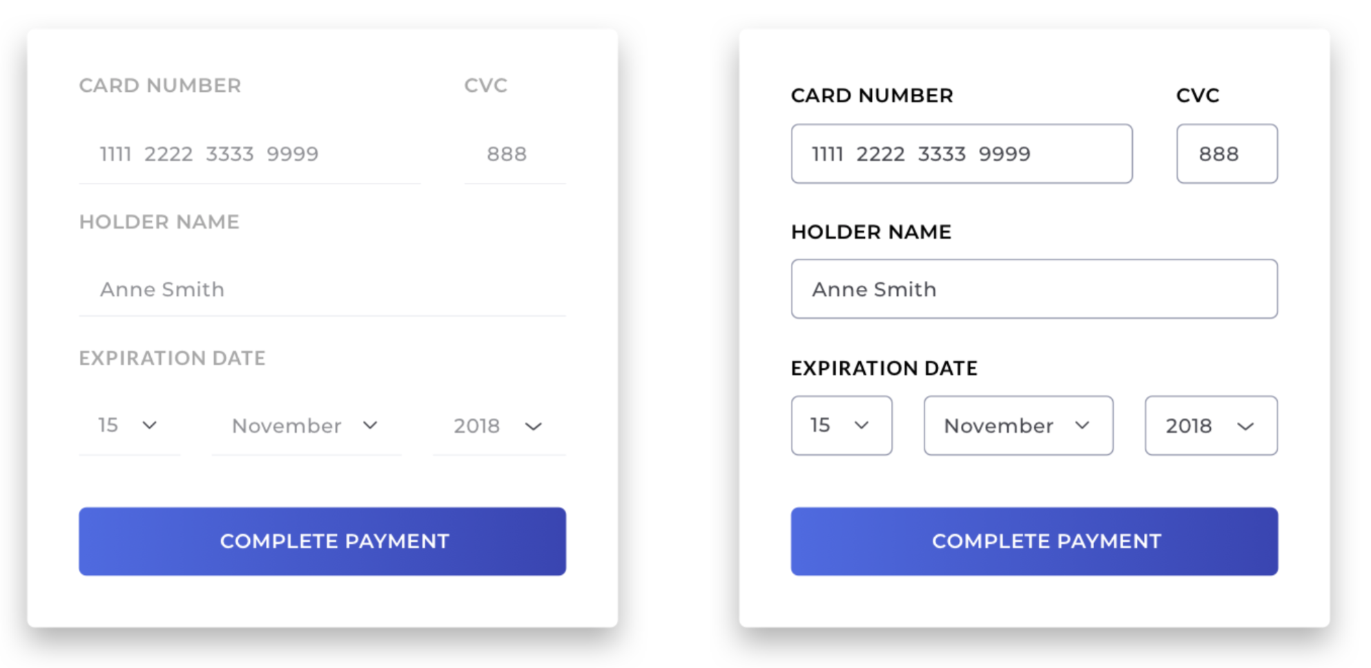Two payment forms, one with good-contrast fields and one without