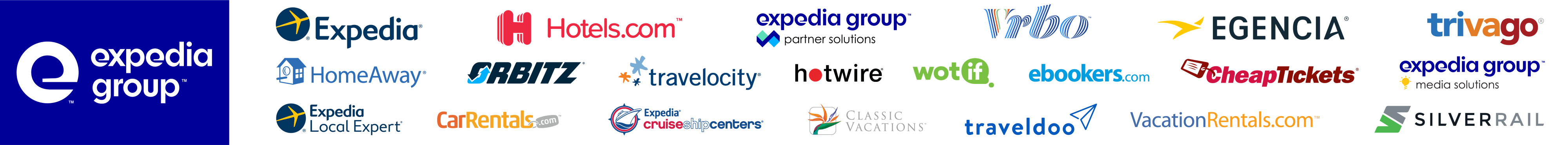 Collection of the logos of Expedia Group brands