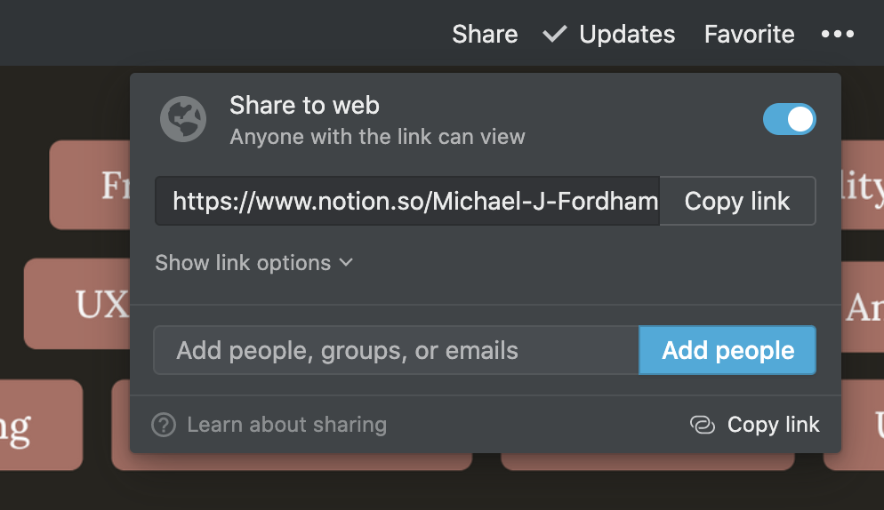 A screenshot of the Share to web option in Notion.