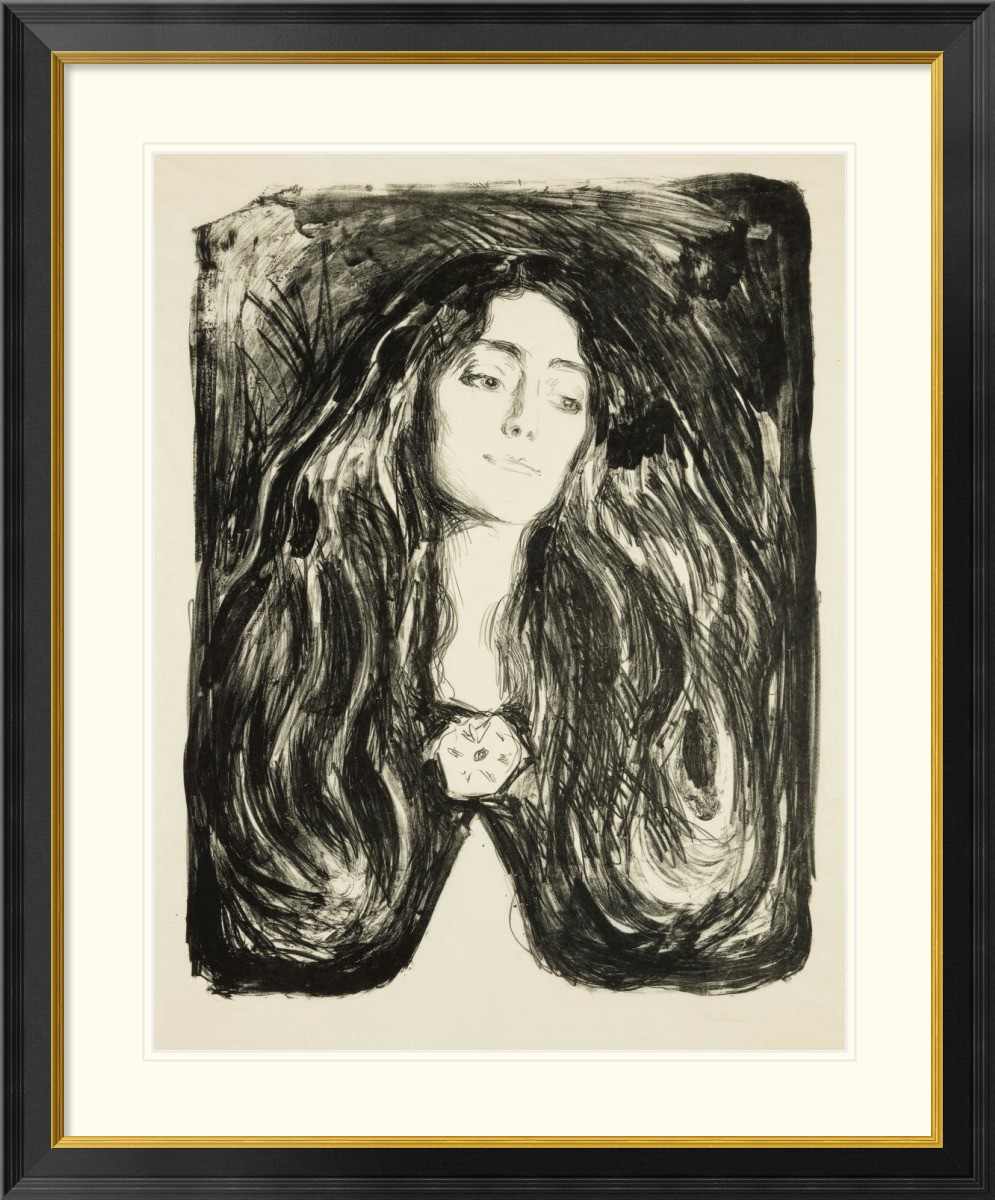 Black and white print of a madonna figure by Edvard Munch.