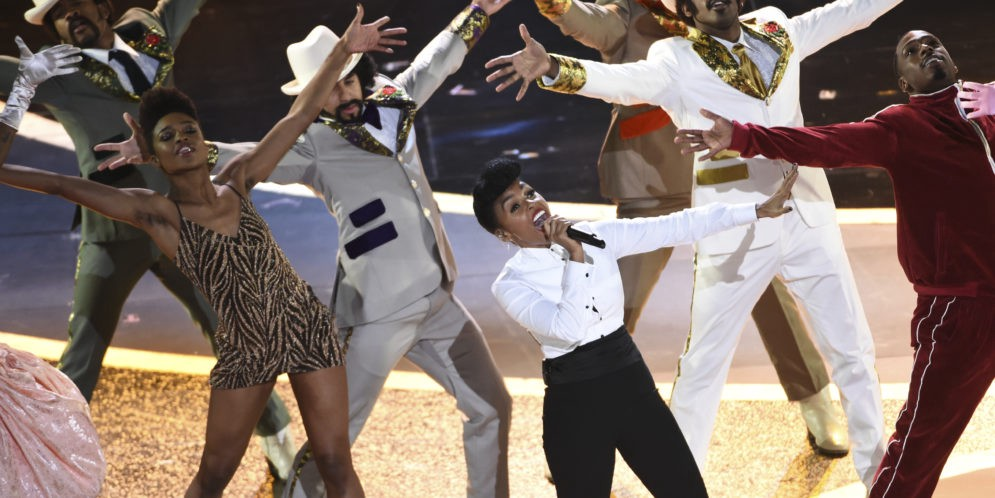 Janelle Monae dancing and singing during the opening ceremony of Oscars 2020