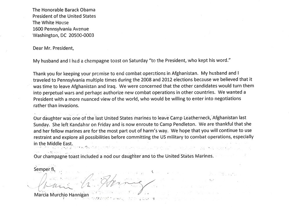 sample letter to the president of the united states