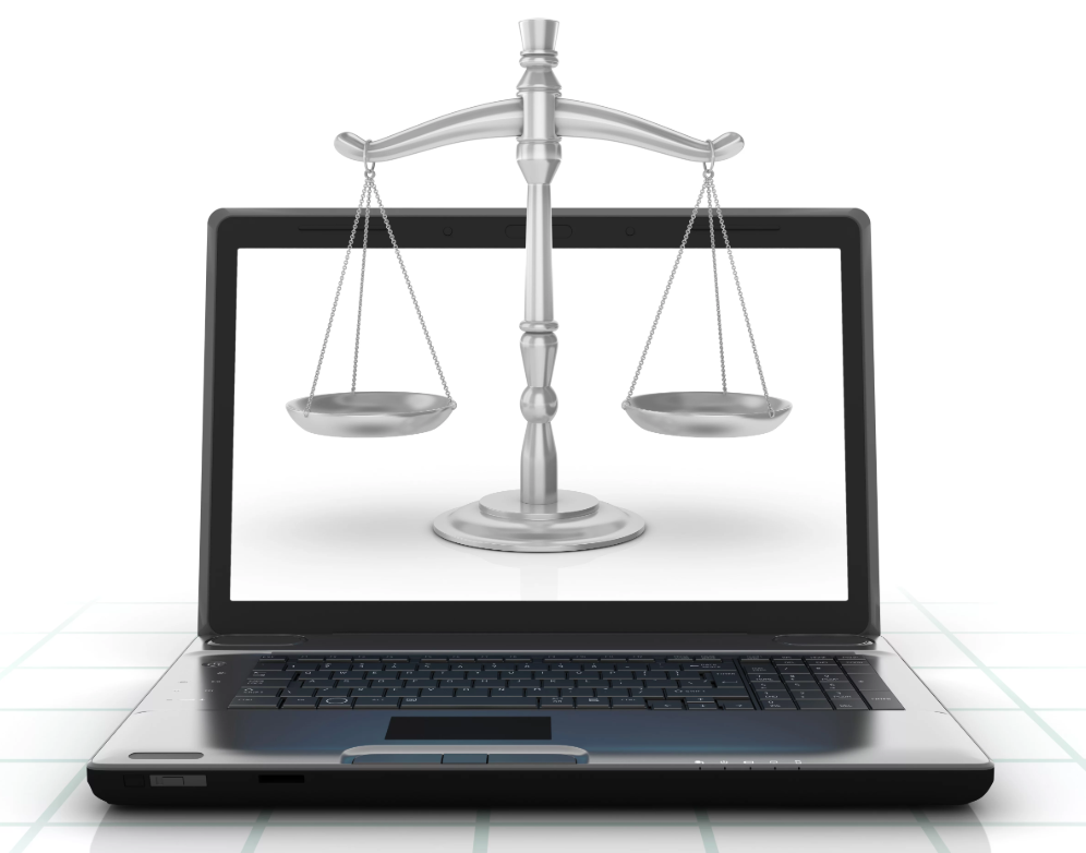 Laptop with justice scales on the screen