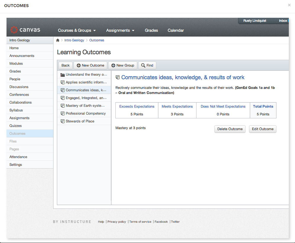 Canvas VLE by Instructure: content organised around content types, not any instructional design