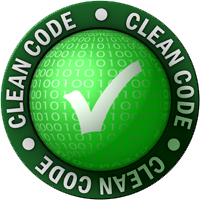 """Green circular logo with a check mark and the words """"clean code"""""""