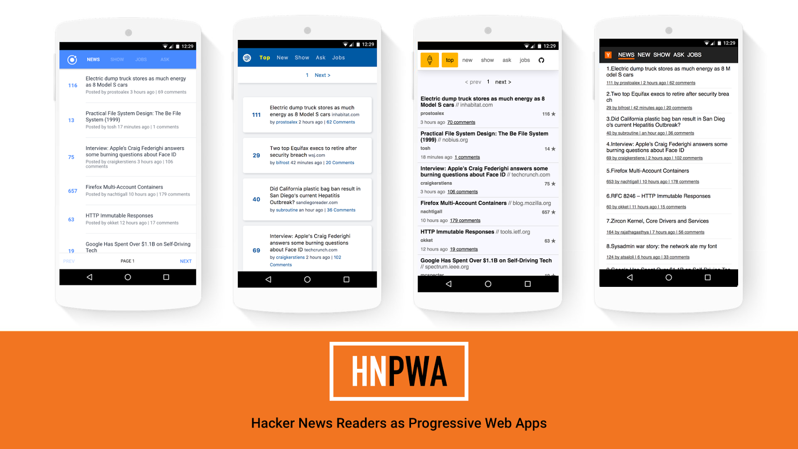 Hacker News Progressive Web Apps - HNPWA