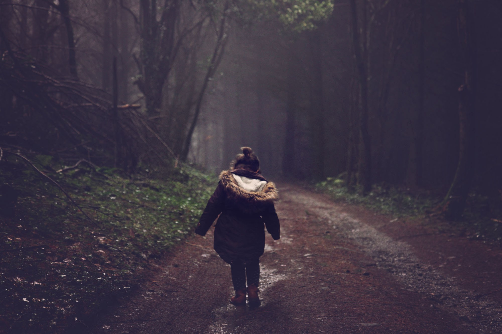 A little girl walking alone in a forest.