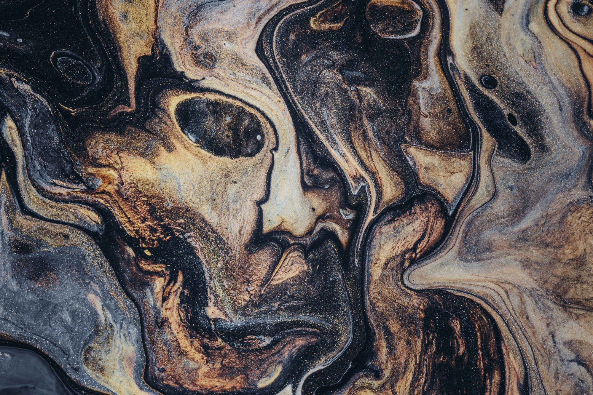 Abstract painting of face.