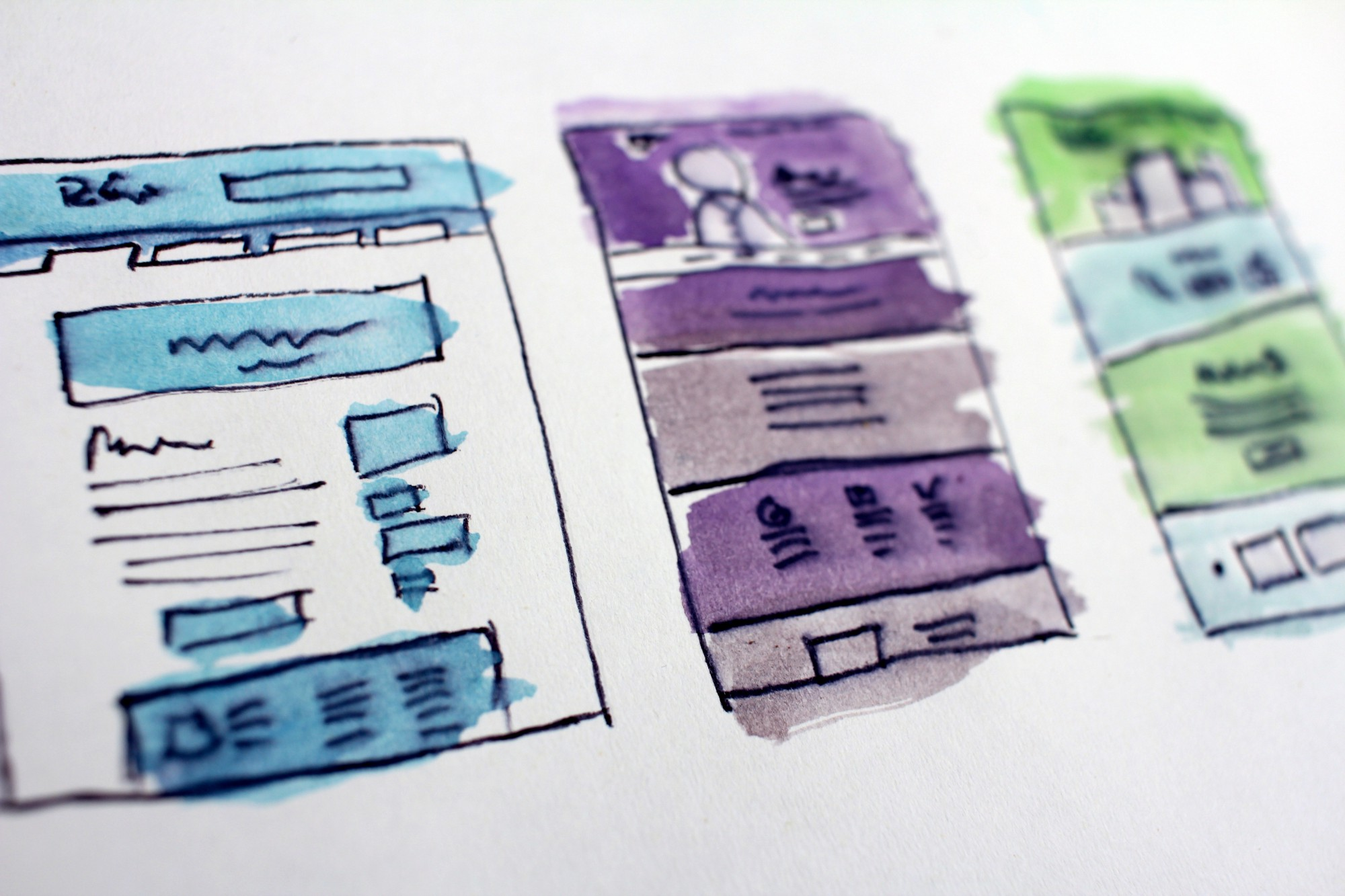 Quick and colourful wireframes of 3 different mobile interfaces.
