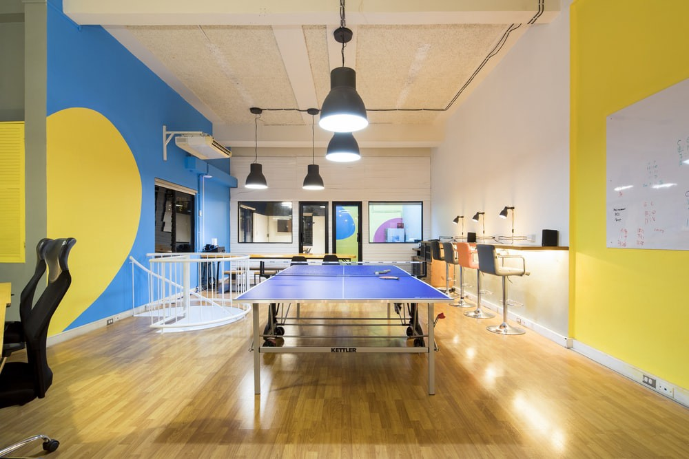 Startup office with a ping-pong table