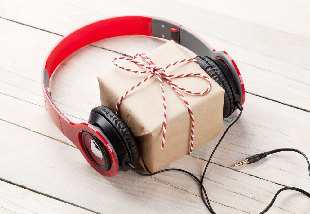 Christmas present with headphones