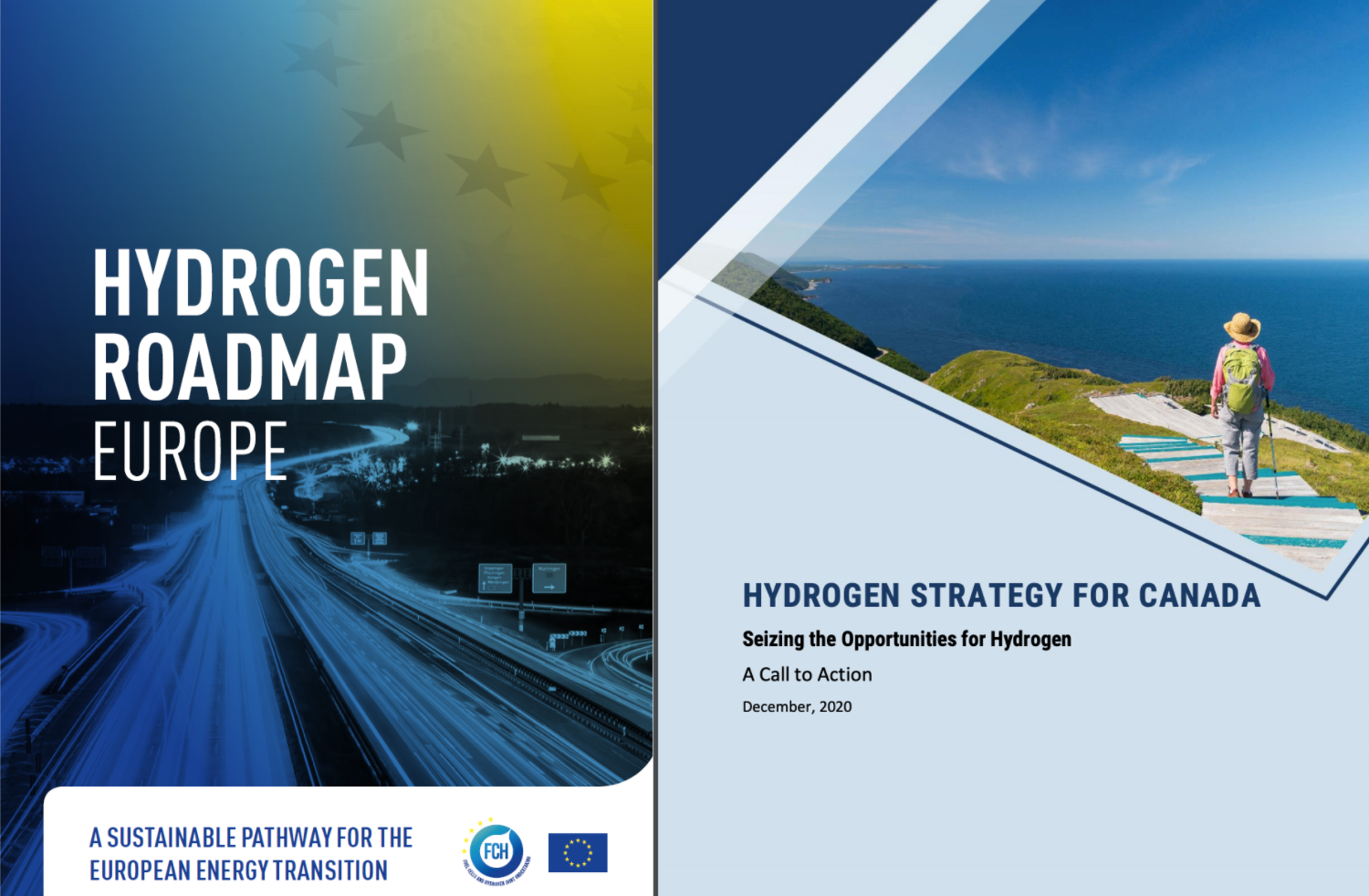 Canadian and EU hydrogen roadmap cover pages