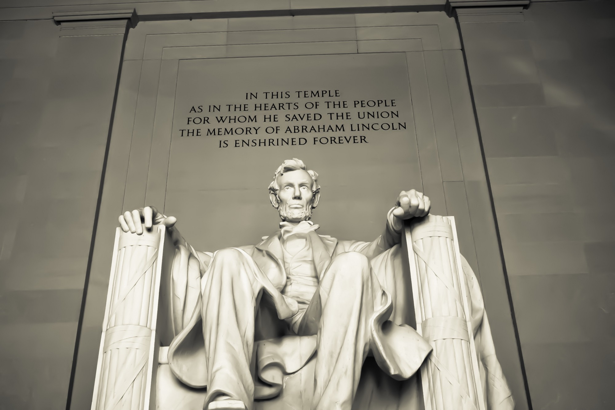 Imposing figure of Abraham Lincoln in the Lincoln Memorial.