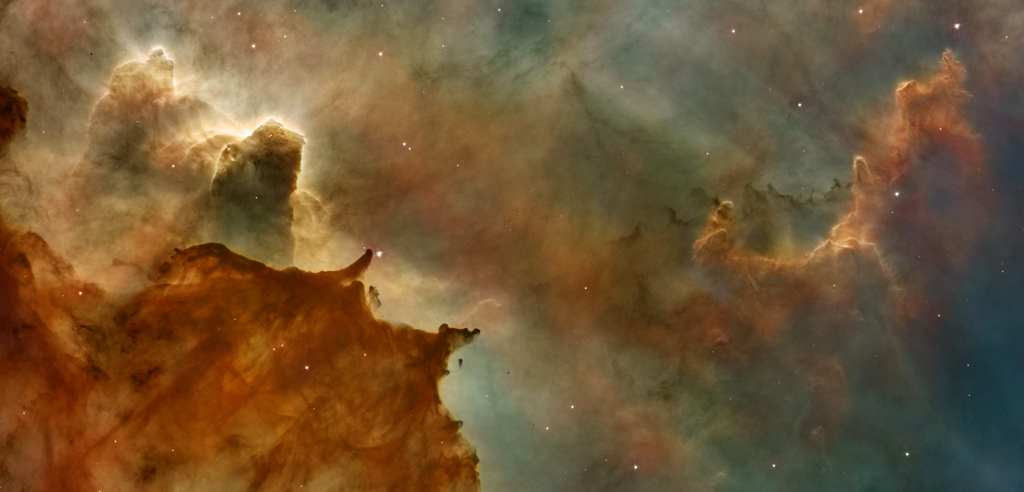An image of emission nebulas in space.