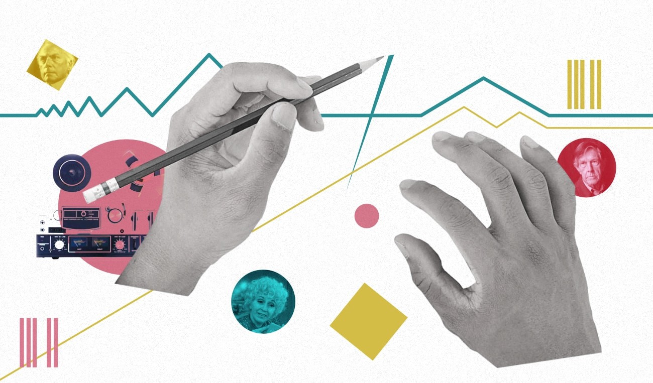 Collage of hands drawing a musical score with shapes and symbols