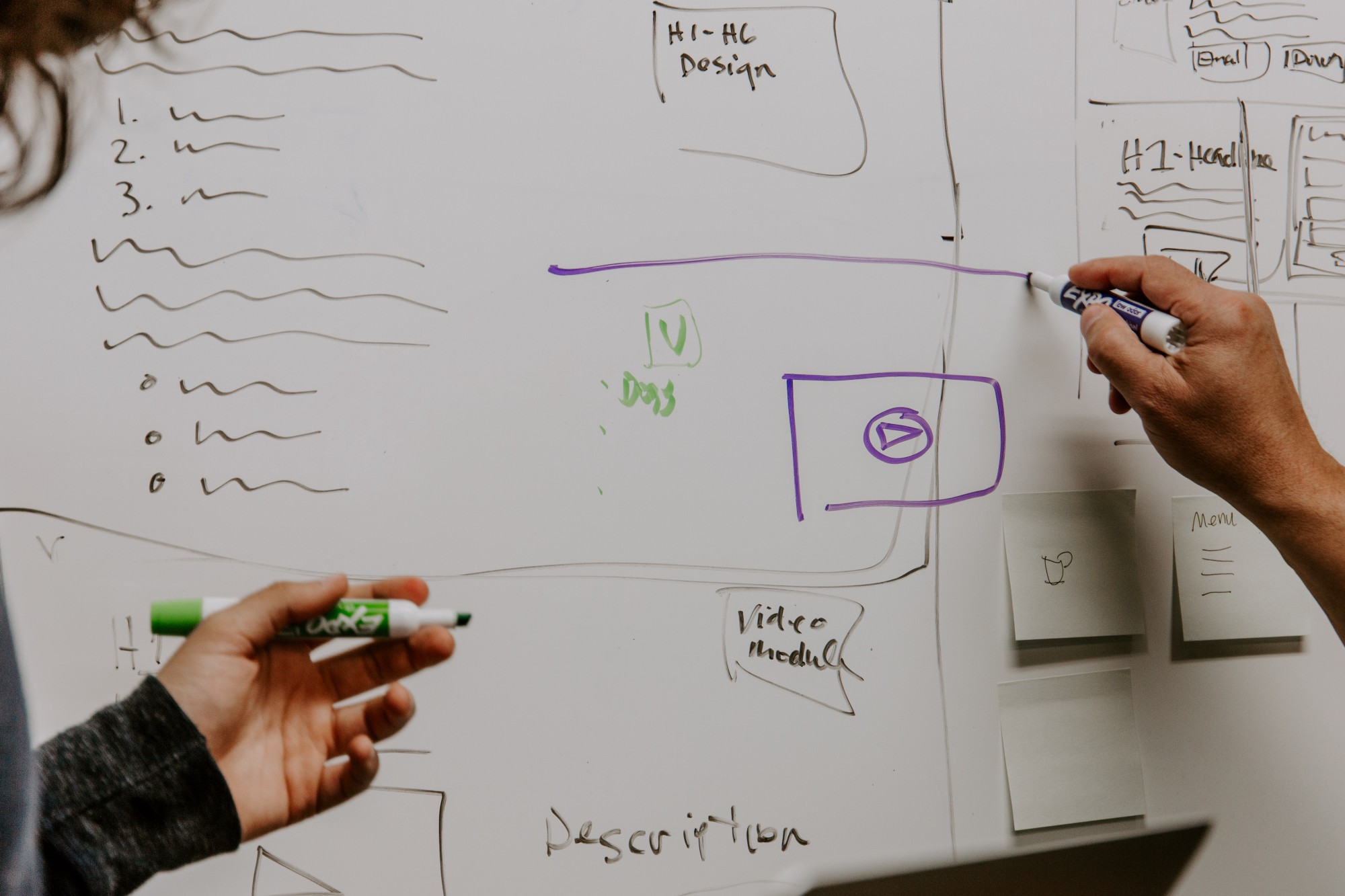 2 people drawing boxes, lines, shapes, etc. to describe ideas on a whiteboard.
