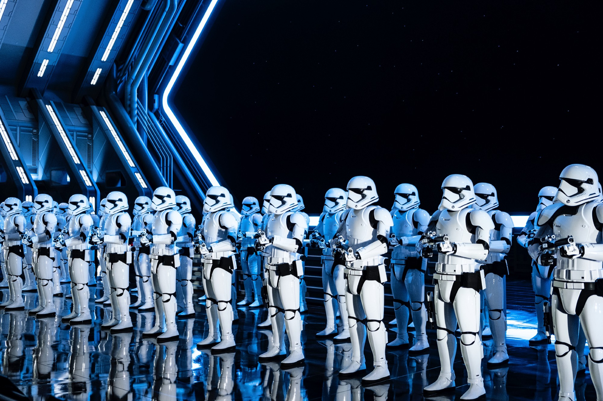 A platoon of stormtroopers from Star Wars.
