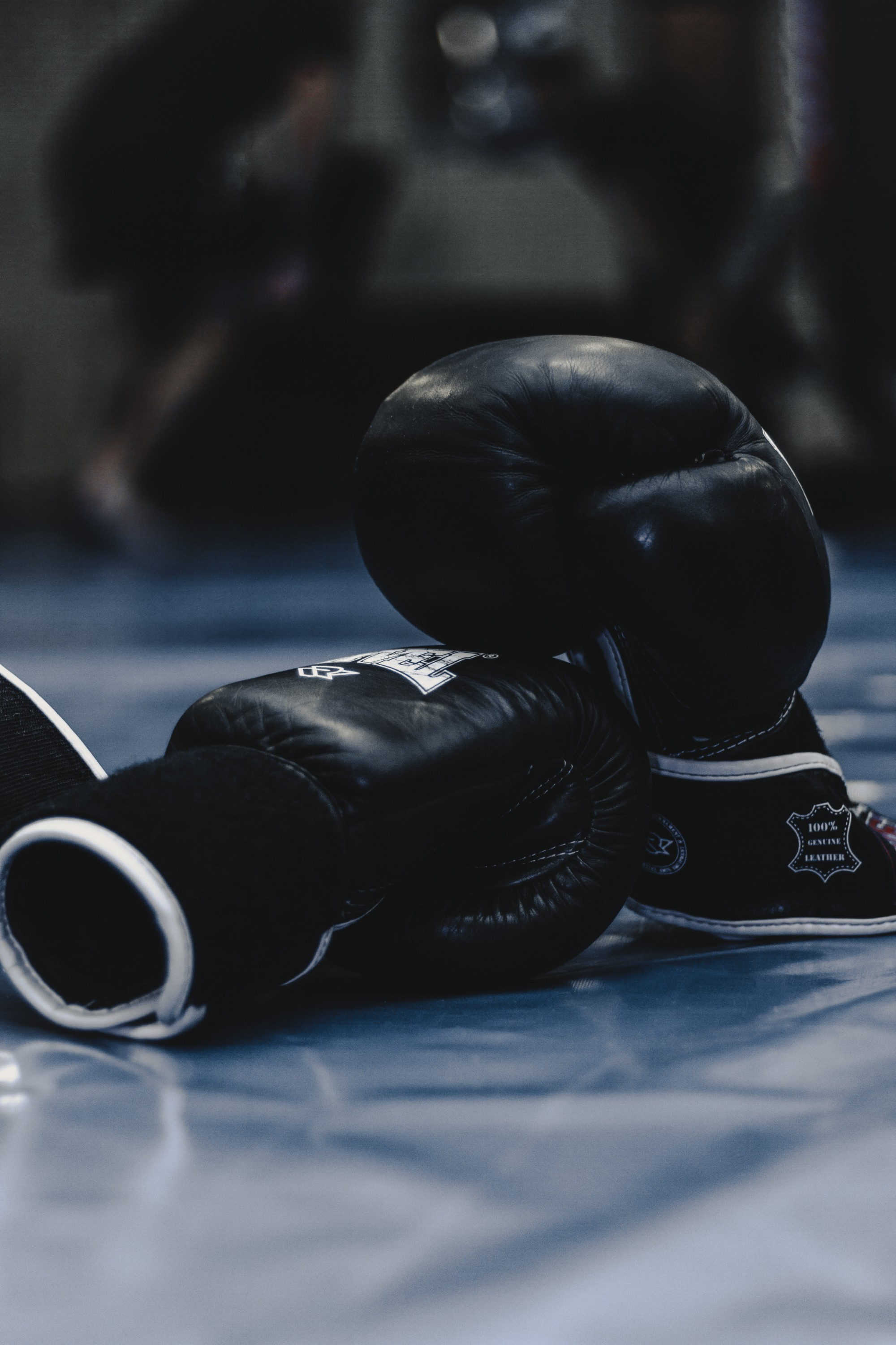 A pair of black boxing gloves