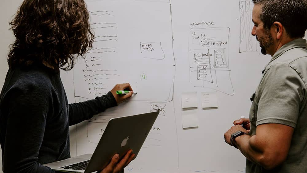 Business Owner Sharing the Processes on a Whiteboard