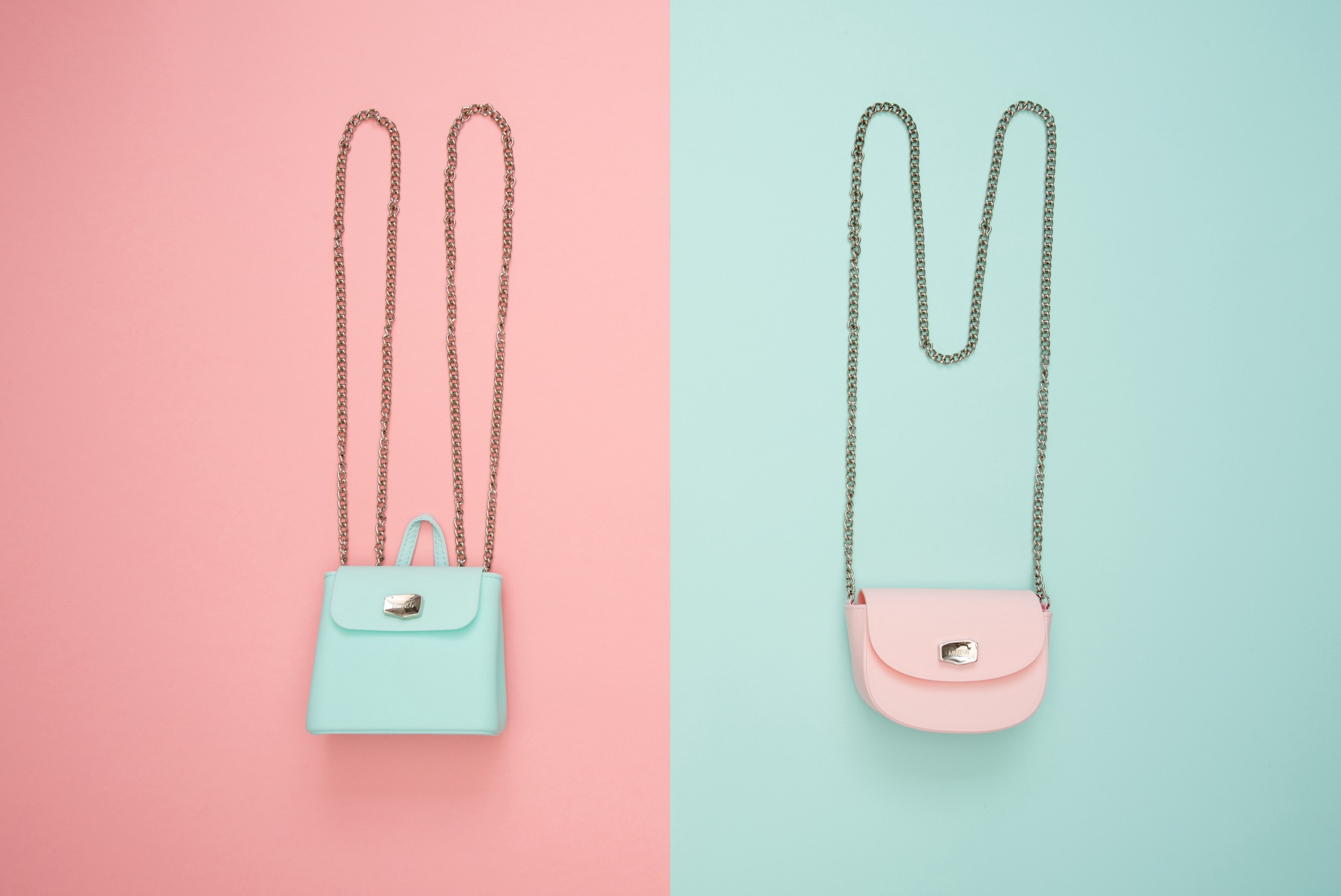 Two contrasting purses against contrasting backgrounds.
