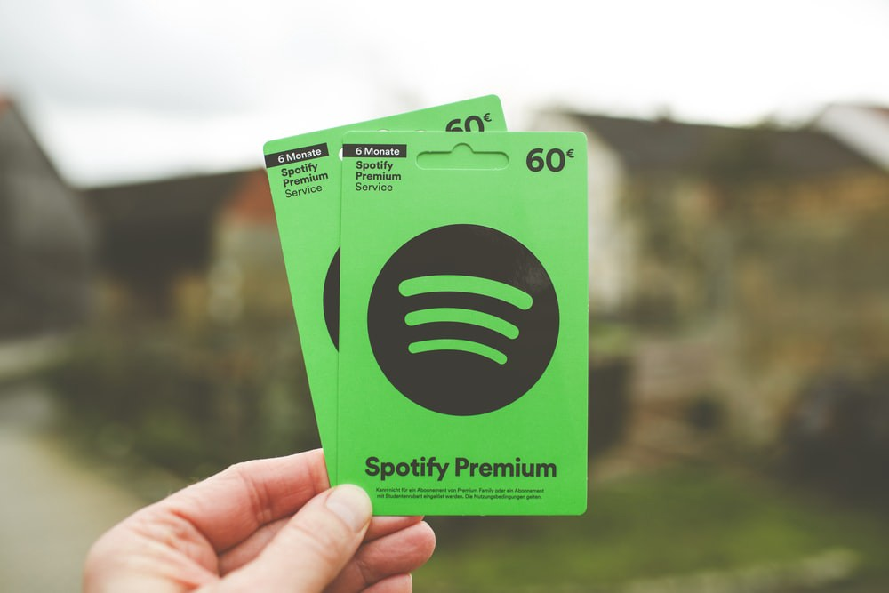 Image of two Spotify Premium gift cards