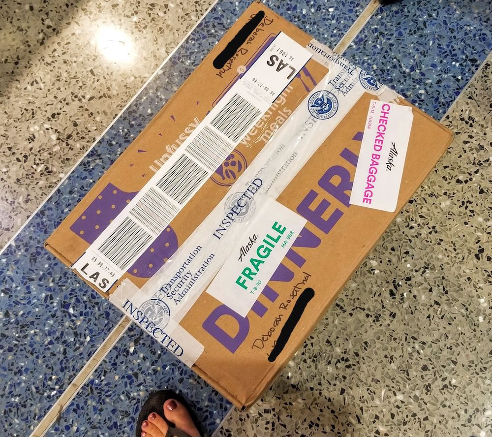 Box that acted as a checked bag
