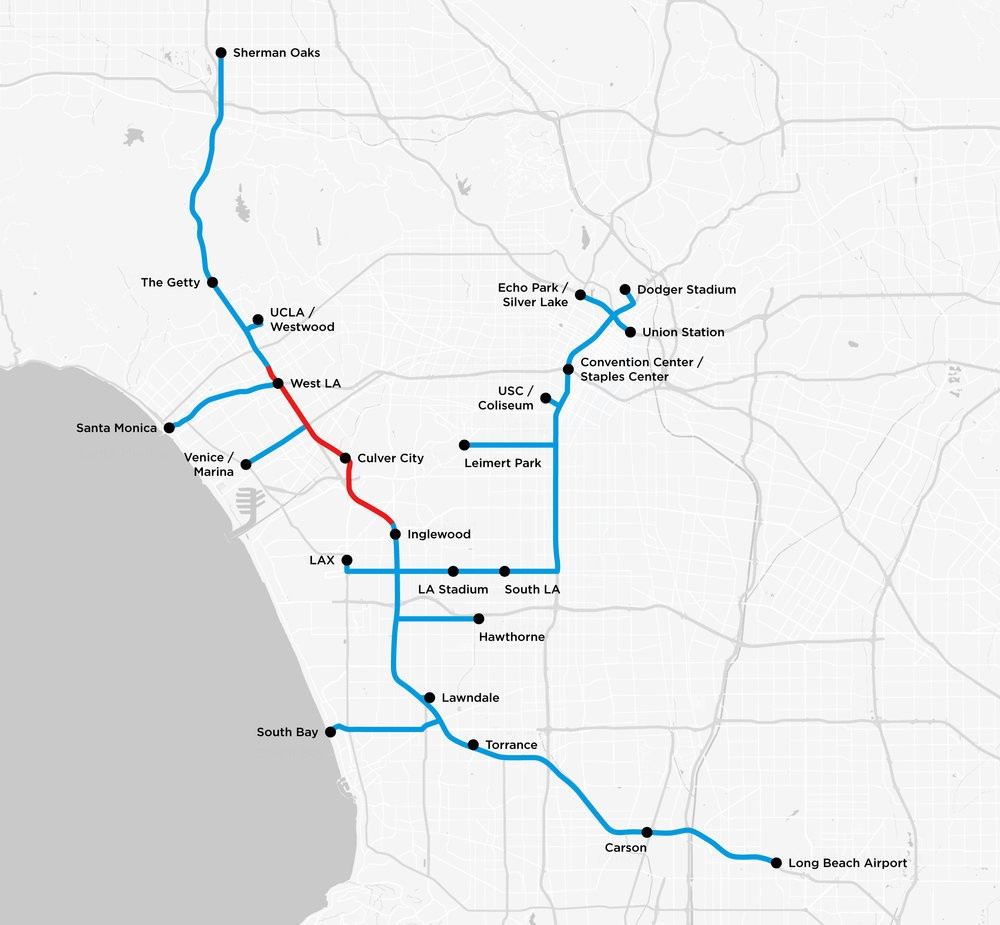elon musks boring company map of los angeles showing proposed tunnel routes that appear to ignore many communities of color