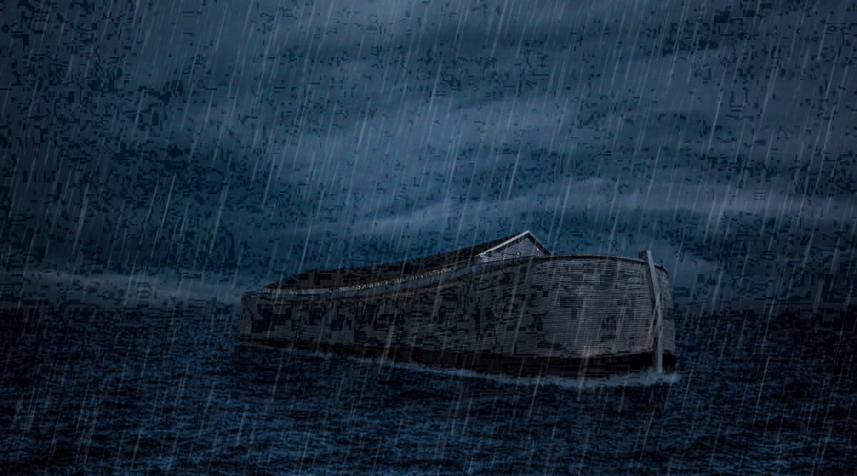 Illustration of an ark in the ocean in the rain.
