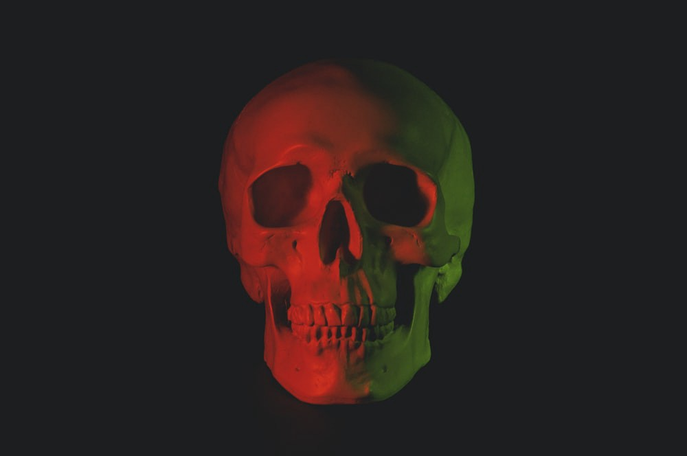 A skull over a black background.