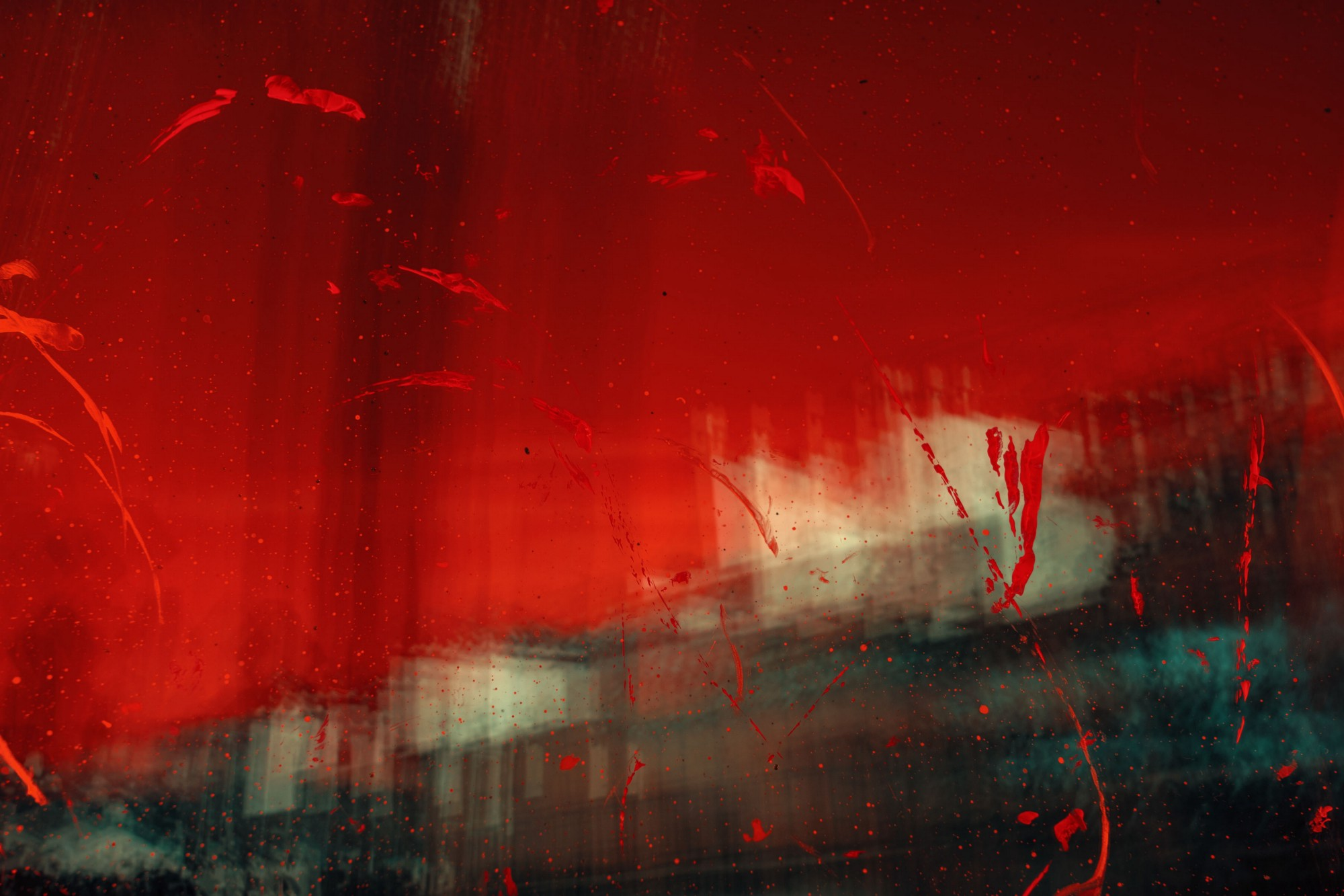 abstract surreal landscape red dark