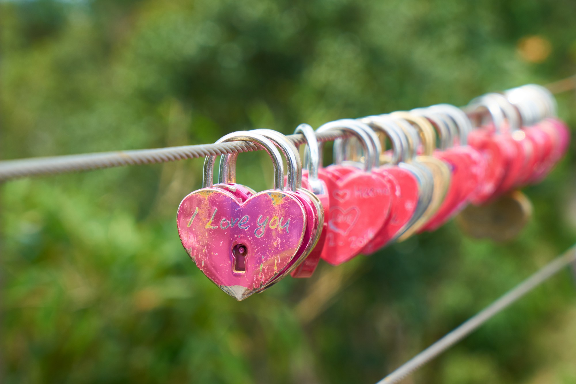 A whole line up of brightly colored padlocks in the of hearts suspended on a wire cable on a bright green background