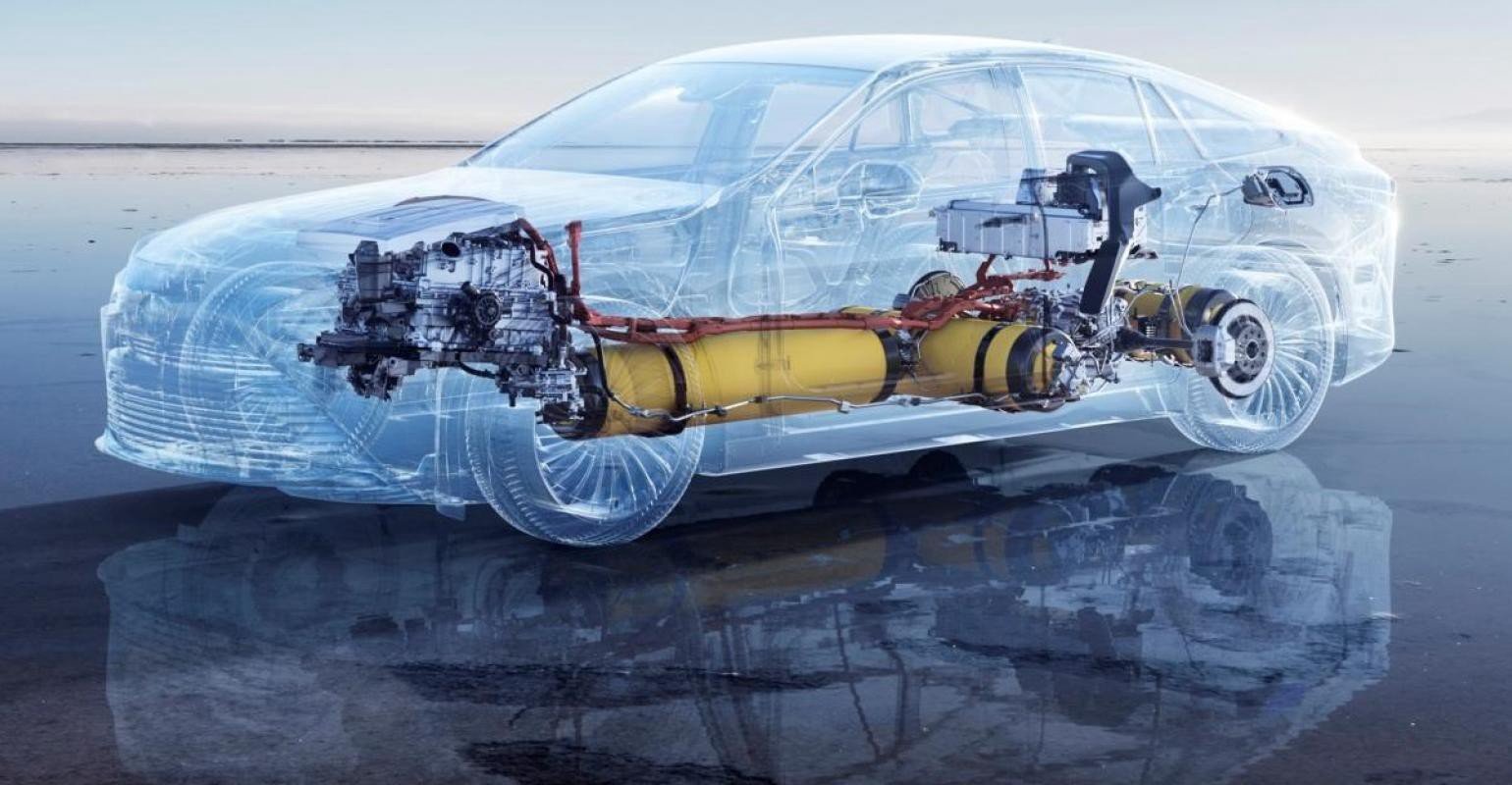 Toyota Mirai schematic view with hydrogen tanks and fuel cells